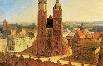 Jan Matejko,  Widok z Wieży Ratuszowej na Rynek i kościół Mariacki w Krakowie