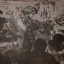 XIX-wieczny rysunek inspirowany premierą Dziewiątej Beethovena. Kompozytor między muzykami orkiestry / Wikipedia Commons