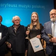 od lewej: Wojciech Nowak, Jerzy Maksymiuk, Marianna Żołnacz i Krzysztof Penderecki, fot. Marta Ankiersztejn